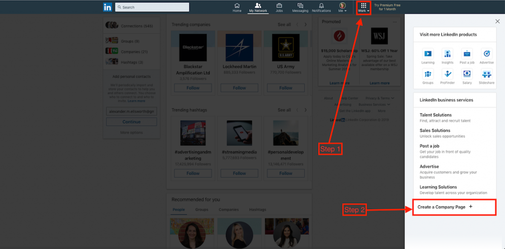 first two steps to create LinkedIn company page