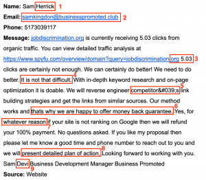 Annotated SEO Email Scam Example