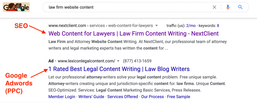 SEO vs PPC shown in SERP