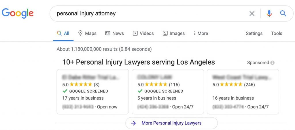Los Angeles Local Search Ads Personal Injury Attorneys Results
